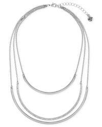 BCBGeneration - Metallic Silver-tone Three-row Collar Necklace - Lyst