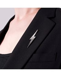 Edge Only | Metallic Pointed Lightning Bolt Lapel Pin Silver | Lyst