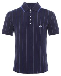 Vivienne Westwood - Blue Contrast Stripe Polo Shirt for Men - Lyst