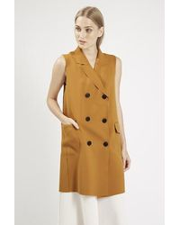 TOPSHOP - Natural Premium Sleeveless Jacket - Lyst