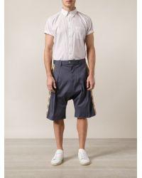 Julien David - Blue Side Print Drop Crotch Shorts for Men - Lyst