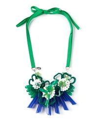 P.A.R.O.S.H. - Green Clustered Floral Necklace - Lyst