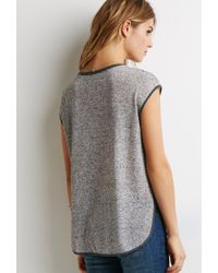 Forever 21 - Gray Contemporary Speckled Slub Knit Blouse - Lyst