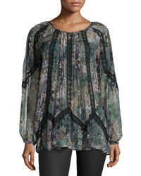 4 Love & Liberty - Gray Rosalee Long-sleeve Spliced Blouse - Lyst