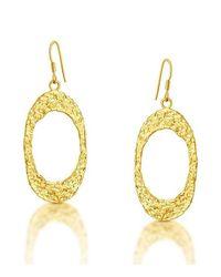 Belcho - Metallic Textured Flat Oval Earrings - Lyst