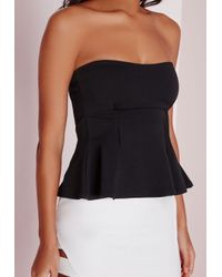 Missguided | Black Bandeau Peplum Crop Top | Lyst