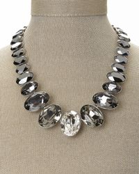 Swarovski | Gray Silver-Tone Hematite Crystal Collar Necklace | Lyst