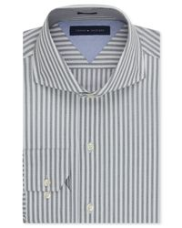 Tommy Hilfiger - Gray Easy Care Slim-fit Grey Bold Stripe Dress Shirt for Men - Lyst