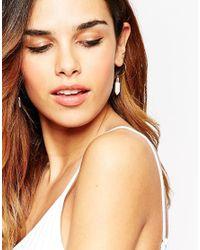 ASOS - White Shard Drop Hoop Earrings - Lyst