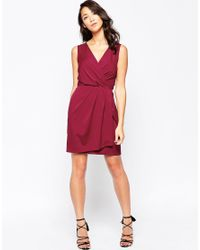 Closet | Red Closet Dress With Tie Front Detail - Burgandy | Lyst