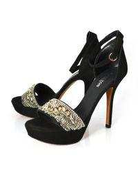 Carlton London | Black Leather High Heeled Sandal | Lyst