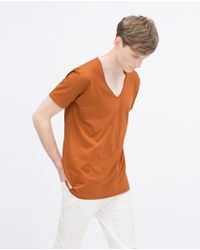 Zara | Orange V-neck T-shirt for Men | Lyst