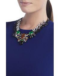 BCBGMAXAZRIA - Green Spiked Gemstone Necklace - Lyst