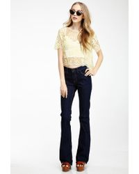 Forever 21 - Yellow Boxy Eyelash Lace Top - Lyst