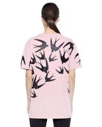 McQ - Pink Glitter Sparrow Printed Cotton T-shirt - Lyst
