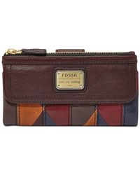 Fossil | Brown Emory Leather Clutch Wallet | Lyst