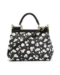 Dolce & Gabbana - Black Small Floral 'sicily' Tote - Lyst