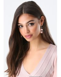 Bebe | Pink Pave Link Linear Earrings | Lyst