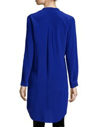 Eileen Fisher | Blue Long-sleeve Silk Tunic/shirt | Lyst