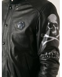 Philipp Plein - Black Leather Bomber Jacket for Men - Lyst
