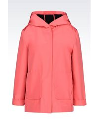 Emporio Armani - Pink Hooded Pea Coat In Technical Fabric - Lyst