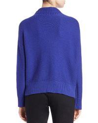 Eileen Fisher | Blue Cotton-cashmere Sweater | Lyst