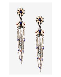 Express - Multicolor Flower Post Drop Earrings With Beaded Chain Fringe - Lyst