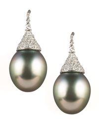 Assael - Black Diamond-topped Tahitian Earrings - Lyst