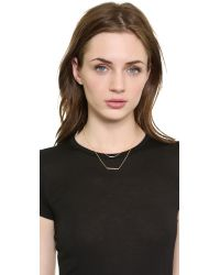 Kacey K - Metallic Double Bar Necklace - Gold/Clear - Lyst