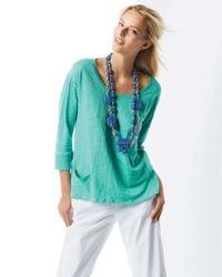 Eileen Fisher - Blue Linen Jersey Top - Lyst