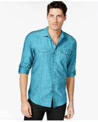 INC International Concepts | Blue Men's Lopper Button-front Shirt, Only At Macy's for Men | Lyst