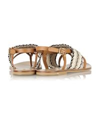 See By Chloé | Brown Kenna Leather And Woven Cotton Sandals | Lyst