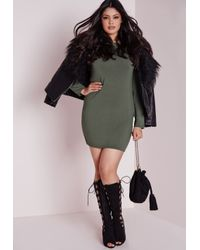 Missguided | Green Plus Size Long Sleeve Jersey Dress Khaki | Lyst