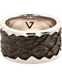 Seven London - Metallic Leather-detail Silver Band Ring for Men - Lyst