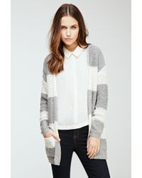 Forever 21 | Gray Striped Loose-knit Cardigan | Lyst