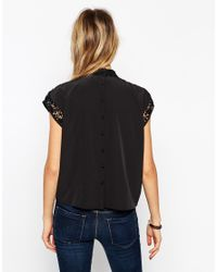 ASOS - Black Victoriana Top - Lyst
