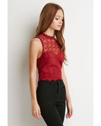 Forever 21 - Embroidered Mesh Sweetheart Top - Lyst