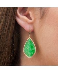 Anne Sisteron - Green 14kt Yellow Gold Jade Diamond Earrings - Lyst