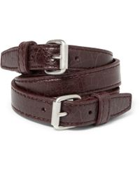 Balenciaga - Purple Wrapped Creased-leather Bracelet for Men - Lyst