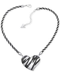 Guess | Metallic Silver-tone Black Stone Striped Heart Pendant Necklace | Lyst