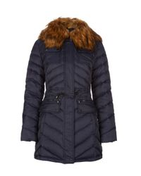 Dawn Levy | Blue Faux Fur Collar Jacker With Pockets | Lyst