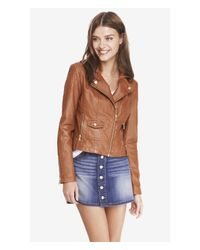Express - Brown Quilted Shoulder (minus The) Leather Jacket - Lyst
