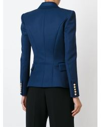 Balmain | Blue Double-Breasted Cotton-Piqué Jacket | Lyst
