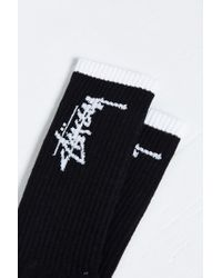 Stussy | Black Stock Sock for Men | Lyst