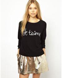 Ganni   Black Sweatshirt with Je Taime Print   Lyst