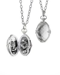 Monica Rich Kosann - Metallic Doublesided Rock Crystal Locket Necklace - Lyst