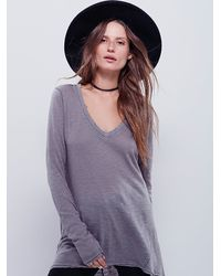 Free People | Gray We The Free Anna Tee | Lyst