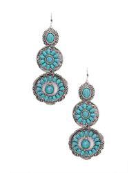 Forever 21 - Blue Faux Stone Medallion Drop Earrings - Lyst