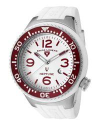 Swiss Legend | Mens Neptune White Dial Maroon Bezel White Silicone Slfac Watch for Men | Lyst