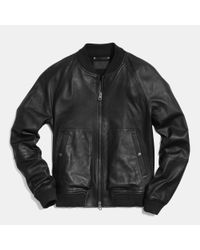 COACH | Black Leather Aviator Jacket for Men | Lyst